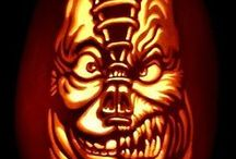 """Frightening Faces / Favorite """"Scary Face"""" pumpkin designs."""