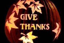 Fall/Thanksgiving pumpkins / Carving ideas that go beyond Halloween, => to Thanksgiving.