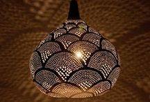 Egyptian Lighting / The Egyptian Lighting is hand spun brass, plated with nickel, silver oxide, or left in a brass gold colour. The patterns are then punched freehand without stencils and therefore each can be considered a work of art. When illuminated beautiful patterns are cast on walls and ceilings.
