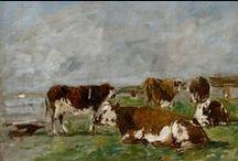Les vaches d'Eugène Boudin / Simple tâches de couleurs ou traits légers, les vaches restent l'une des plus importantes séries d'étude d'Eugène Boudin.