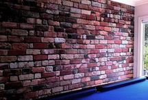 Wallpaper that messes with you / Is it really a brick wall? Or just wallpaper? I need to touch it.