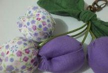 Chaveiros / chaveiro de tulipa em tecido