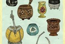 Accessoires à maté - Yerba maté / Dans ce tableau vous retrouverez les différents accessoires à maté. Voici, nos pots et pipettes issus de l'artisanat.