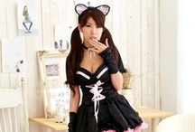 Cat Sexy Ears Cosplay Costume / Miwu Miwu ~ super cute naughty cat ladies. This characters wear on the cat and the same ~ loveable maid justified.  Product Description: Dress + Gauze with cat tail, cat ears, Elastic Jacket, Cat mitts (pure black) & collar  Material: Elastic Polyester  Size: Bust 84-90cm, Waist 68-76cm  http://cosplaysushi.com/collections/sexy/products/sexy-cat-ears-cosplay-costume