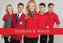 Get The Look: Stadiums & Arenas / When your brand is on center stage every evening - your employees need championship-caliber uniforms. Our color-coordinated garments are built to handle the busiest of working conditions night after night.
