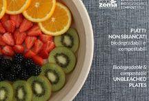 Plates, bowls & trays - biodegradable & compostable tableware / Piatti piani, fondi e vassoi monouso, biodegradabili e compostabili Ecozema. Disposable plates, bowls and trays by Ecozema