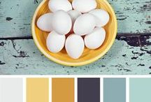 väripaletteja / Harmaan ja valkoisen lisäksi tarvitaan yksi tai kaksi toissijaista huomioväriä.