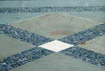 PAVING / Everything Stone Paving!  Terrace, walkway, pebble mosaic, banding, compass rose.