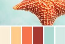 Color Scheme - Beached / The color scheme of blues and oranges emits a burst of energy. The orange brings a little pop to the room and is a great combination of opposite colors!