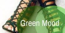 Green Fashion / Glam in emerald green. Emerald green color in fashion. Emerald green heels, clothes and other accessories.