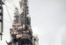Urban | dystopia / Pessimistic future #abandoned #futuristic #parasite #pessimistic #slum