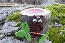 Candele. Candles. / Candele con tronco d'albero e porta-candele all'uncinetto. Candles with tree trunk and candles crochet.