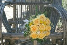 Texas Hill Country Wedding - at Inn at Wild Rose / Texas Hill Country Wedding - at The Inn at Wild Rose Hall. Texas-inspired florals and bridal bouquet with yellow roses, mums, and gerbera daisies