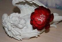 Мои цветы из ткани, канзаши