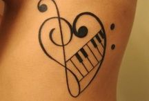 Music Canvas / Musical instruments, notes, clefs and other whimsy.