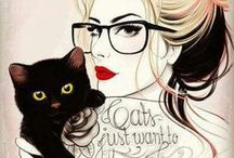 Black Cats in  Illustrations