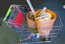 Shopping carts! / Shopping carts full of recycled materials. Some in bags...