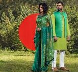 Victory Day 2016 / Aarong features a range of vibrant shalwar kameezs, embellished sarees and smart panjabis in glorious shades of red and green. The outfits come in multiple hues of colors of the flag. The designs mainly follow the classic theme which captures motifs and styles that remain trendy throughout the different ages