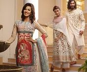 Eid-ul-Fitr 2017 Collection / The 2017 Eid collection features mughal art inspired sarees, shalwar kameez, and panjabis. New fashion additions include sherwani styled panjabis and shalwar kameez with capes. The collection also features ladies kurta designs with their unique cuts, embellishments and metallic prints.