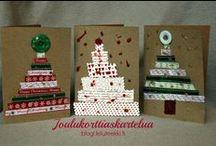 Joulukorttiaskartelua / Tee itse joulukortit.  Christmas card crafts for kids.
