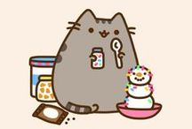 Pusheen <3 / Kitty powerrrrr! <3 pushed the cat <3