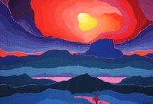 Ted Harrison, 1926 - 2015 / Edward Hardy Harrison, was born in England and graduated in Design in 1950. He was a teacher for 28 years. He immigrated to Canada, where his love for land and people of the Yukon made Ted Harrison one of Canada´s mot popular artist. In 1993 he moved to Victoria, British Columbia to continue painting and writing. He was written several children´s books, made the design of Yukon Pavilion for Vancouver Expo 86 and the design of a Canada Post Christmas Stamp in 1996.