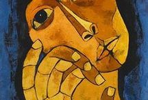 "Oswaldo Guayasamin, 1919 - 1999 / Was born in Quito, Ecuador in a poor family. His father worked as a carpenter and had ten children. Guayasamin created a Pan- American art of human and social inequalities. He graduated from the School of Fine Arts in Quito as a painter and sculptor. He also studied architecture. His art, especially his murals usually reflected his leftist political leanings and his championship of the underprivileged. His masterwork ""La Capilla del Hombre"" is located in the hills overlooking Quito."