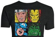 Marvel / Official T-shirts from the Marvel Universe including Captain America, Iron Man, Thor, Incredible Hulk, X-Men, Spider-Man and Agents of SHIELD.