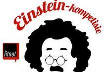Einstein-kompetisie / Die Einstein-kompetisie is 'n nuwe kompetisie – die eerste in sy soort in Suid-Afrika – wat jong navorsers by universiteite uitdaag om hulle eie navorsing in 130 karakters of minder op te som.     Lees al die fassinerende inskrywings hier: http://www.litnet.co.za/category/einstein-kompetisie-inskrywings/.