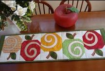 patchwork table runners, toppers, mug rugs
