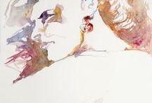 aquarelles portraits / aquarelles de portraits hommes, femmes et artistes peintres