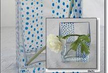 Jarrones/floreros / Colección de diseño en cristal pintado a mano. Personalizable.  Se puede lavar a mano y a máquina. Solicita tu encargo y catálogo en: unycgd@gmail.com