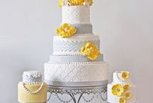 Grey & Yellow Cakes / Wedding colour palettes change annually but a yellow/grey colour scheme is now commonplace for many modern brides. Many items to recreate these ideas can be found in our online shop here http://www.sweetsuccess.uk.com/Home.asp
