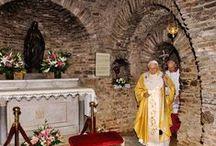 "House of Virgin Mary - Selcuk, Ephesus, Turkey / The House of the Virgin Mary (Turkish: Meryem ana or Meryem Ana Evi, ""Mother Mary's House"") is a Catholic and Muslim shrine located on Mt. Koressos (Turkish: Bülbüldağı, ""Mount Nightingale"") in the vicinity of Ephesus, 7 kilometres (4.3 mi) from Selçuk in Turkey."