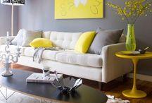 Color Amarillo y Gris / Ideas para decorar tu casa de amarillo y gris. Grey and Yellow Decor