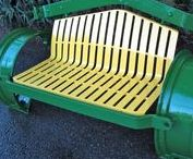 """Made from old tractor parts / Crafts, furniture, decor made from old tractors! And guess what? We operate 7 huge tractor salvage yards in the Midwest. Looking to """"stuff"""" to repurpose? Visit one of our yards at http://www.tractorpartsasap.com/salvageyards"""