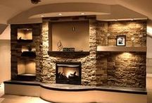 Basement family room / Basement Family room decor and design. Fireplace and built ins, furniture, accessories, etc.