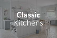 We love Classic kitchens! / Classic kitchen design is at the very heart of what we do - our Classic kitchen collection features a range of stunning traditional kitchen designs to give a beautiful country kitchen look. We excel with classic oak and painted furniture for the ultimate traditional look, country feel or classic design. Our classic kitchens are beautifully finished and offer you a variety of price points and finishes, from vinyl oak through to painted furniture.
