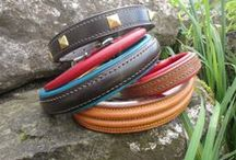 Dog Collars and Leads / A selection of handmade leather dog collars and leads made by us at J.H.Leather