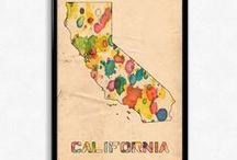 US States Maps Watercolor / Beautiful watercolor paintings of the US states