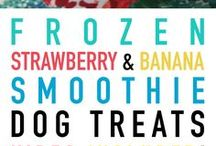 Homemade Frozen Dog Treats / My dogs love doggy ice cream, but unfortunately I can't get any where I live. I've been collecting recipes for homemade frozen dog treats so they can still get a delicious treat, especially in this hot weather.