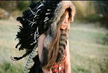 Tribal / Feathers, face paint and leather.. Tribal inspiration