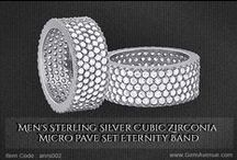 Men's Sterling Silver Cubic Zirconia Band / Men's Sterling Silver Cubic Zirconia Micro Pave Set Eternity Band