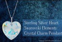 Sterling Silver Heart Swarovski Elements Crystal Charm Pendant