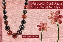 Multicolor Dyed Agate Stone Strand Necklace