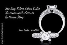 Sterling Silver Clear Cubic Zirconia with Accents Solitaire Ring