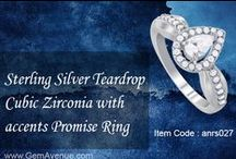 Sterling Silver Teardrop Cubic Zirconia with accents Promise Ring / ITEM CODE : ANRS027