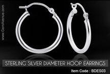 Sterling Silver Diameter Hoop Earrings