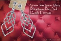 Silver Tone Overlapping Leaves Clear Rhinestones Post Dangle Earrings