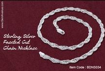 Sterling Silver Faceted Cut Chain Necklace